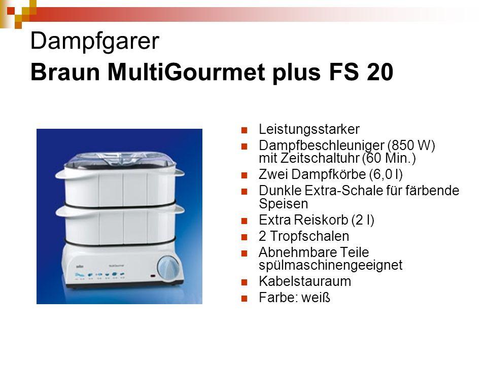 Dampfgarer Braun MultiGourmet plus FS 20 Leistungsstarker Dampfbeschleuniger (850 W) mit Zeitschaltuhr (60 Min.) Zwei Dampfkörbe (6,0 l) Dunkle Extra-