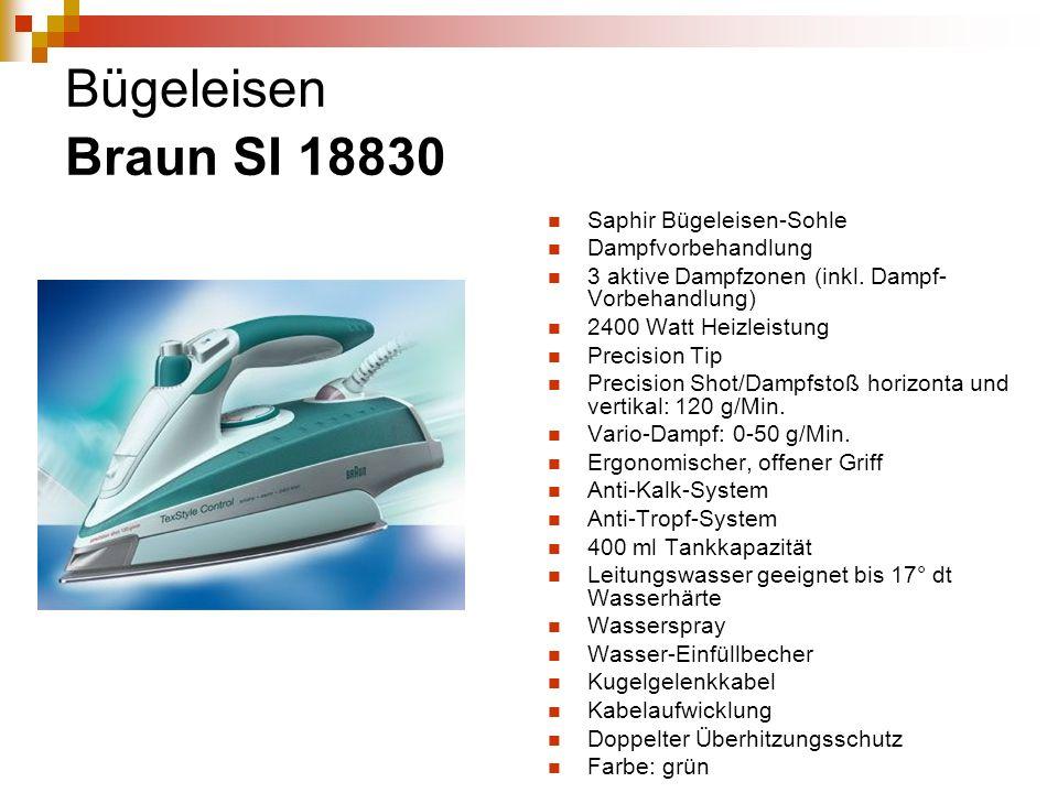 Bügeleisen Braun SI 18830 Saphir Bügeleisen-Sohle Dampfvorbehandlung 3 aktive Dampfzonen (inkl. Dampf- Vorbehandlung) 2400 Watt Heizleistung Precision