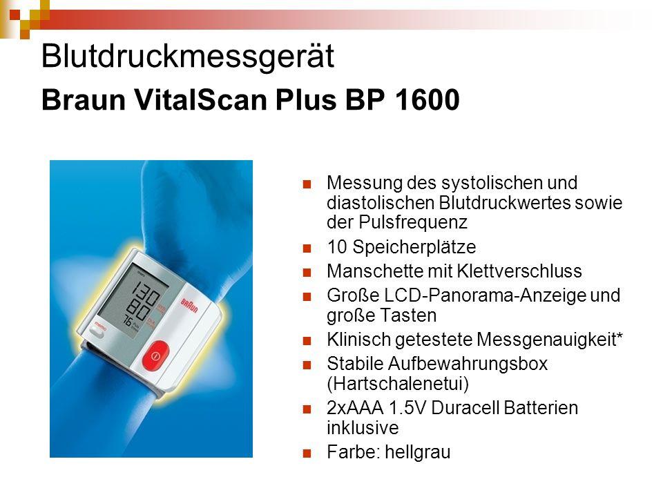 Blutdruckmessgerät Braun VitalScan Plus BP 1600 Messung des systolischen und diastolischen Blutdruckwertes sowie der Pulsfrequenz 10 Speicherplätze Ma