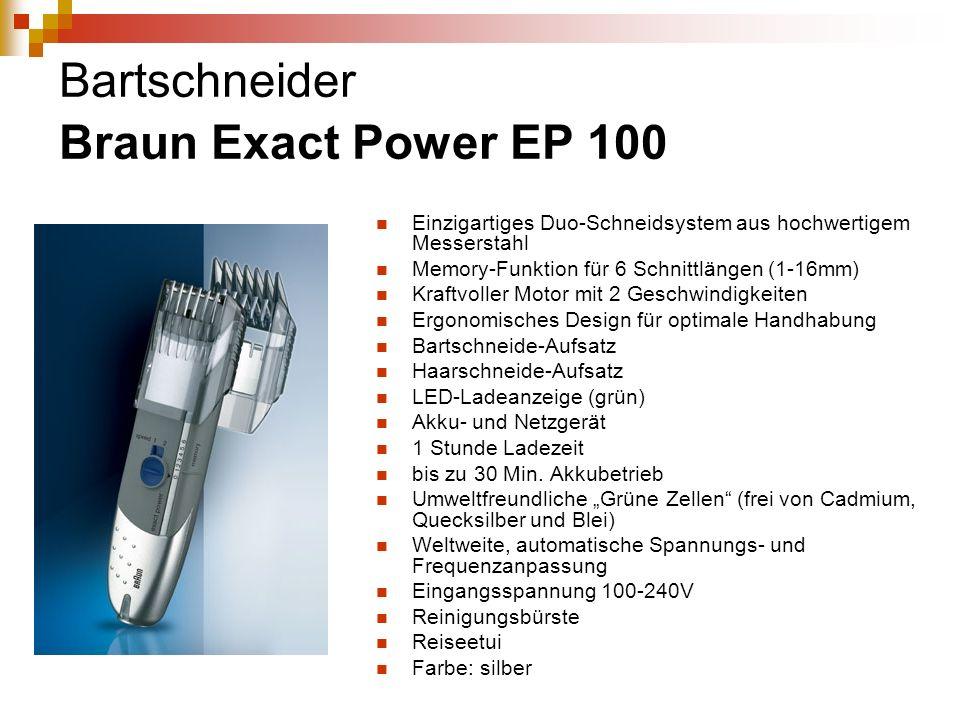 Bartschneider Braun Exact Power EP 100 Einzigartiges Duo-Schneidsystem aus hochwertigem Messerstahl Memory-Funktion für 6 Schnittlängen (1-16mm) Kraft
