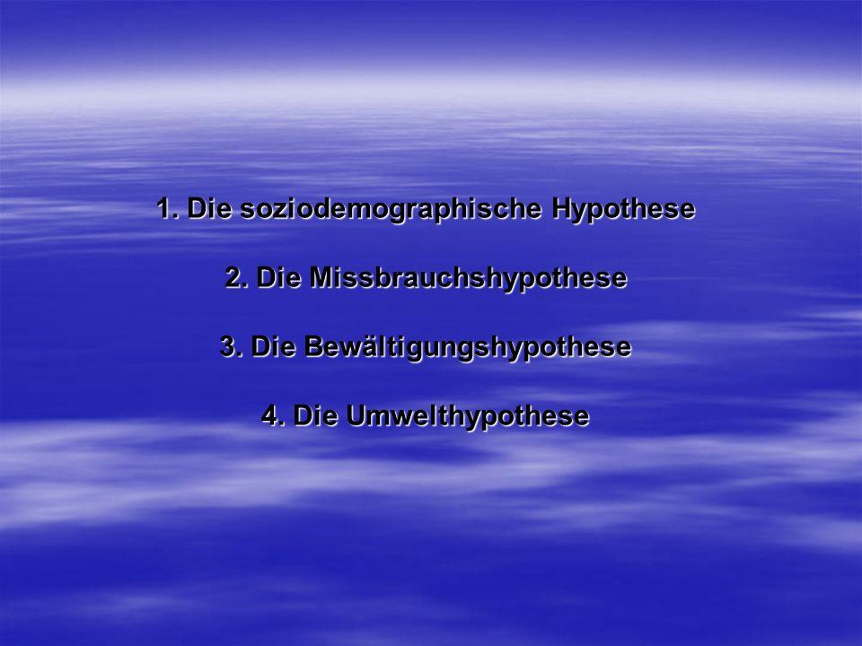 1. Die soziodemographische Hypothese 2. Die Missbrauchshypothese 3. Die Bewältigungshypothese 4. Die Umwelthypothese