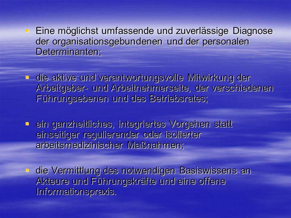 Eine möglichst umfassende und zuverlässige Diagnose der organisationsgebundenen und der personalen Determinanten; Eine möglichst umfassende und zuverl