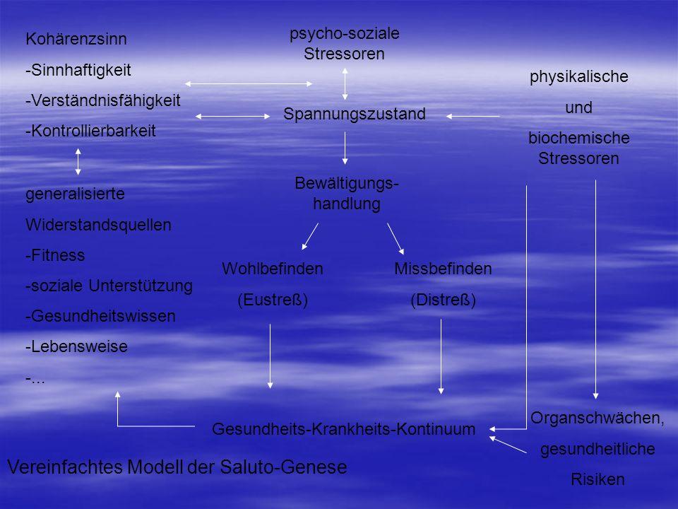 psycho-soziale Stressoren Spannungszustand Bewältigungs- handlung physikalische und biochemische Stressoren Kohärenzsinn -Sinnhaftigkeit -Verständnisf