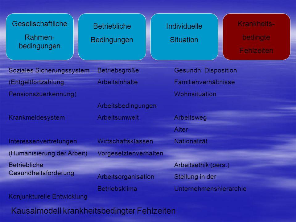 Gesellschaftliche Rahmen- bedingungen Betriebliche Bedingungen Individuelle Situation Krankheits- bedingte Fehlzeiten Soziales Sicherungssystem (Entge