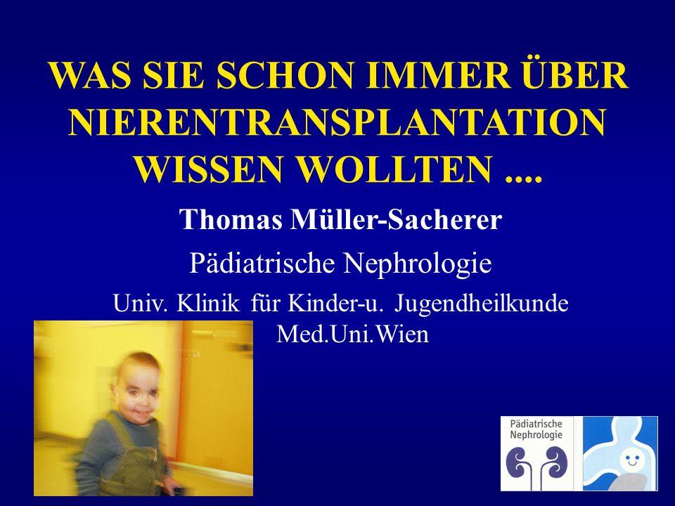 WAS SIE SCHON IMMER ÜBER NIERENTRANSPLANTATION WISSEN WOLLTEN.... Thomas Müller-Sacherer Pädiatrische Nephrologie Univ. Klinik für Kinder-u. Jugendhei