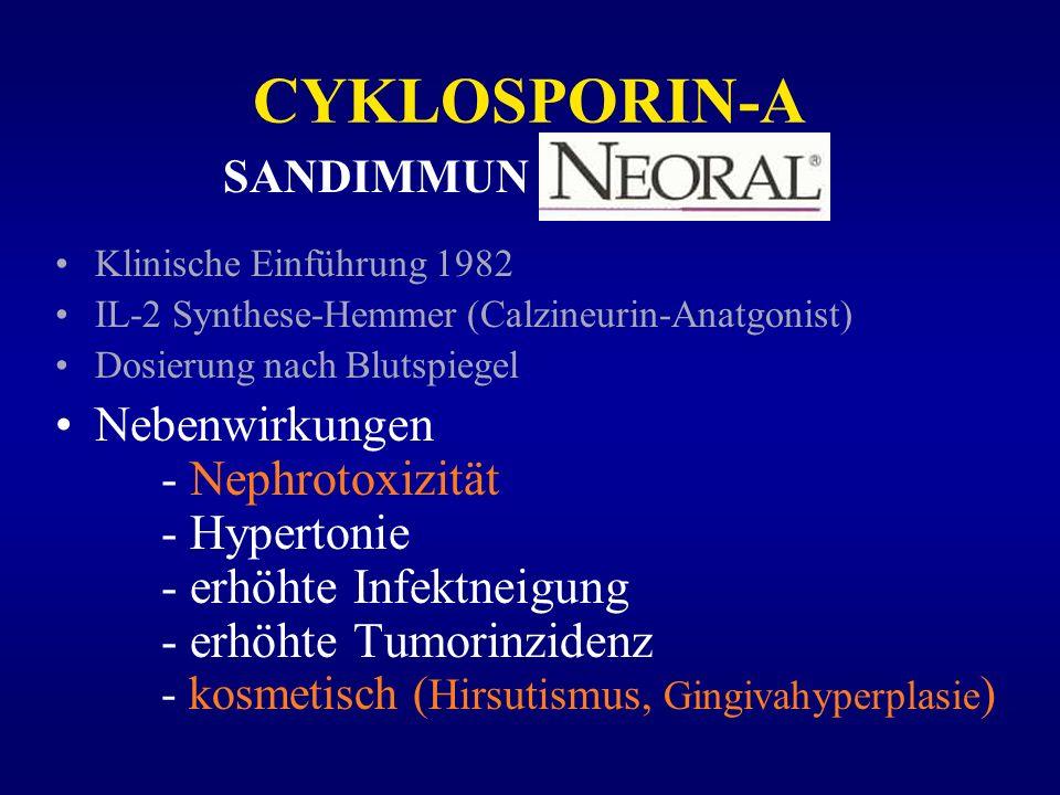 CYKLOSPORIN-A Klinische Einführung 1982 IL-2 Synthese-Hemmer (Calzineurin-Anatgonist) Dosierung nach Blutspiegel Nebenwirkungen - Nephrotoxizität - Hy