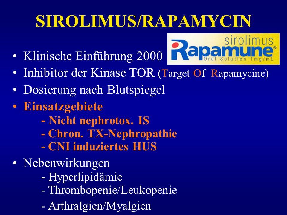 SIROLIMUS/RAPAMYCIN Klinische Einführung 2000 Inhibitor der Kinase TOR (Target Of Rapamycine) Dosierung nach Blutspiegel Einsatzgebiete - Nicht nephro