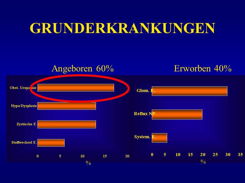 GRUNDERKRANKUNGEN % Erworben 40%Angeboren 60% %