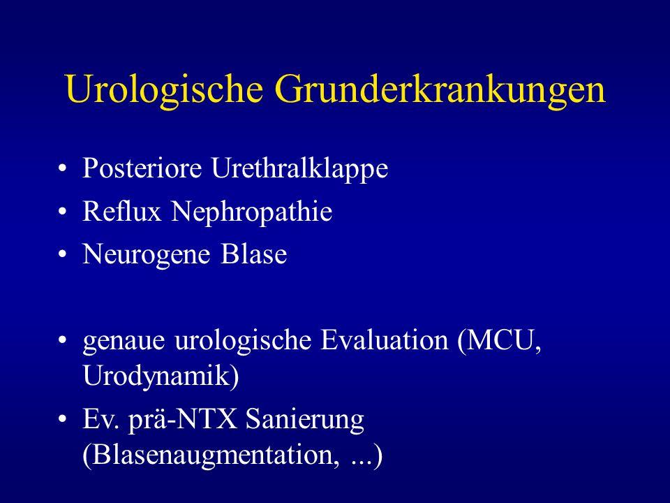 Urologische Grunderkrankungen Posteriore Urethralklappe Reflux Nephropathie Neurogene Blase genaue urologische Evaluation (MCU, Urodynamik) Ev. prä-NT