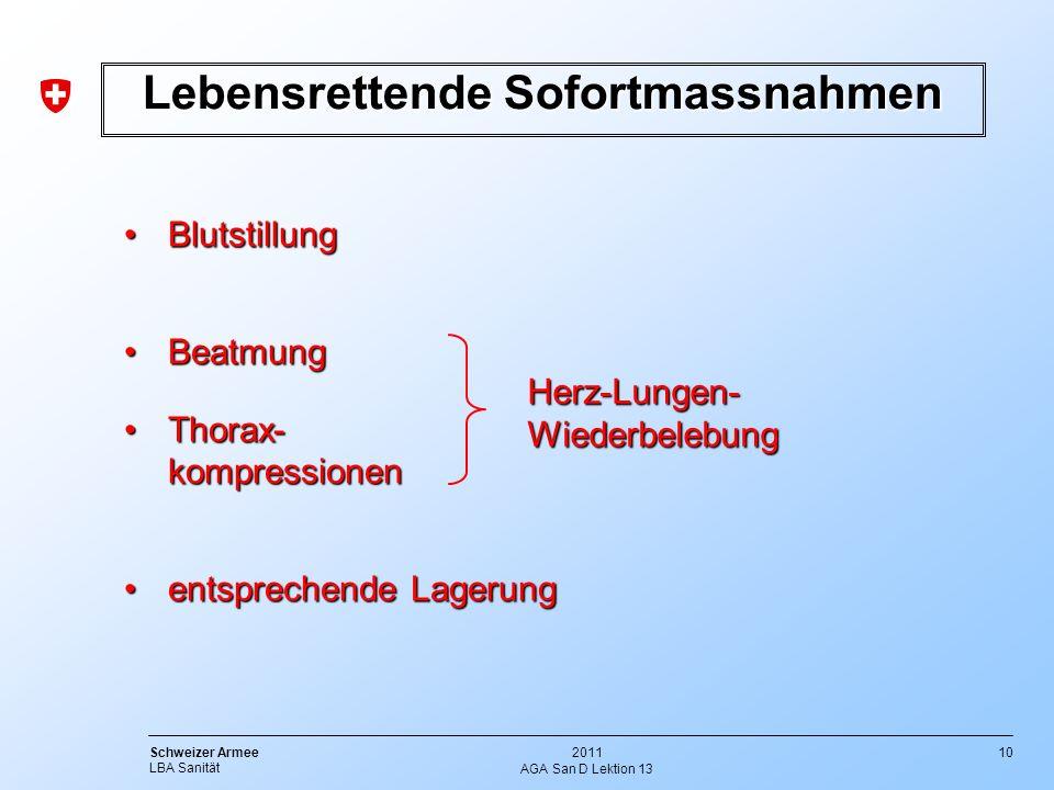 10 Schweizer Armee LBA Sanität 2011 AGA San D Lektion 13 Lebensrettende Sofortmassnahmen BlutstillungBlutstillung BeatmungBeatmung Thorax- kompression