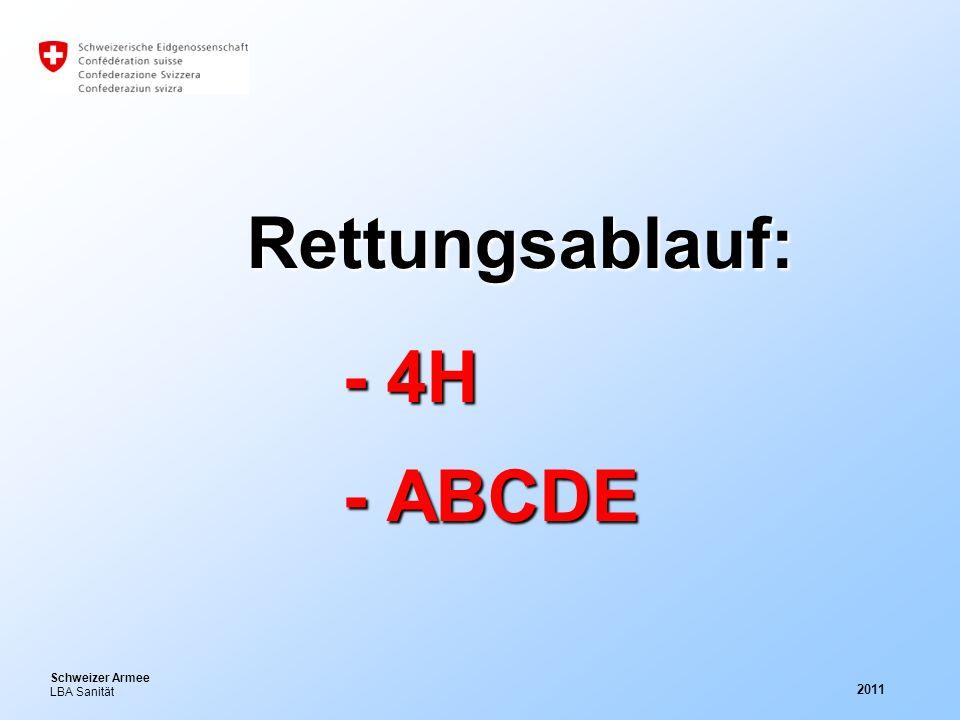 Schweizer Armee LBA Sanität 2011 Rettungsablauf: - 4H - ABCDE