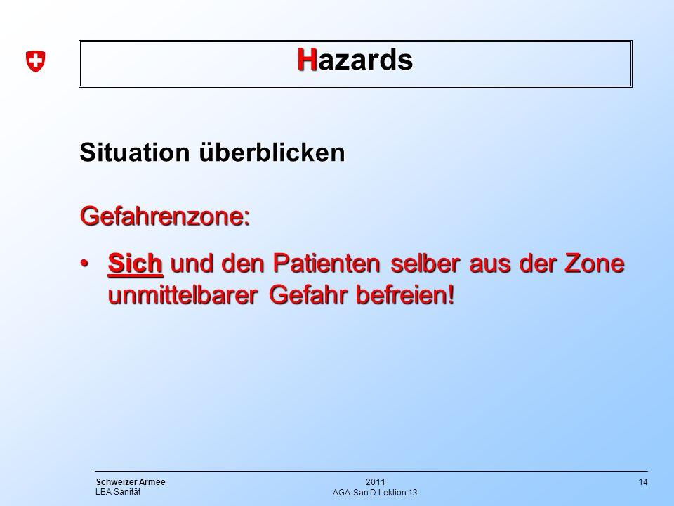 14 Schweizer Armee LBA Sanität 2011 AGA San D Lektion 13 Hazards Situation überblicken Gefahrenzone: Sich und den Patienten selber aus der Zone unmitt