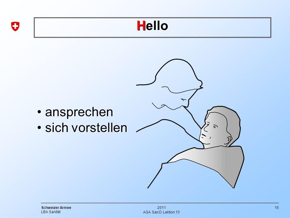 15 Schweizer Armee LBA Sanität 2011 AGA San D Lektion 13 Hello ansprechen ansprechen sich vorstellen sich vorstellen