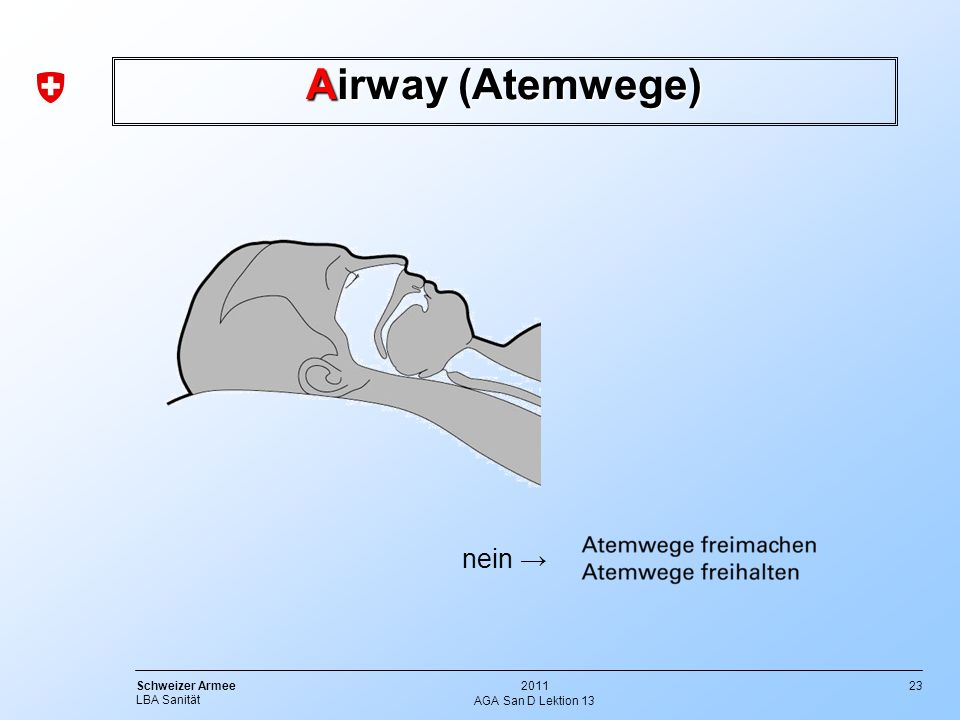 23 Schweizer Armee LBA Sanität 2011 AGA San D Lektion 13 Airway (Atemwege) nein