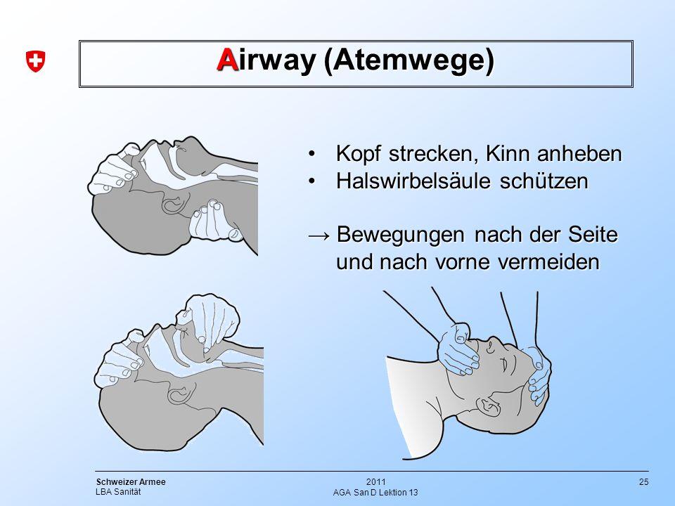 25 Schweizer Armee LBA Sanität 2011 AGA San D Lektion 13 Kopf strecken, Kinn anhebenKopf strecken, Kinn anheben Halswirbelsäule schützenHalswirbelsäul