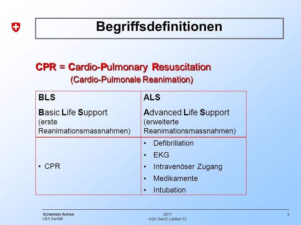3 Schweizer Armee LBA Sanität 2011 AGA San D Lektion 13 Begriffsdefinitionen CPR = Cardio-Pulmonary Resuscitation (Cardio-Pulmonale Reanimation) (Card