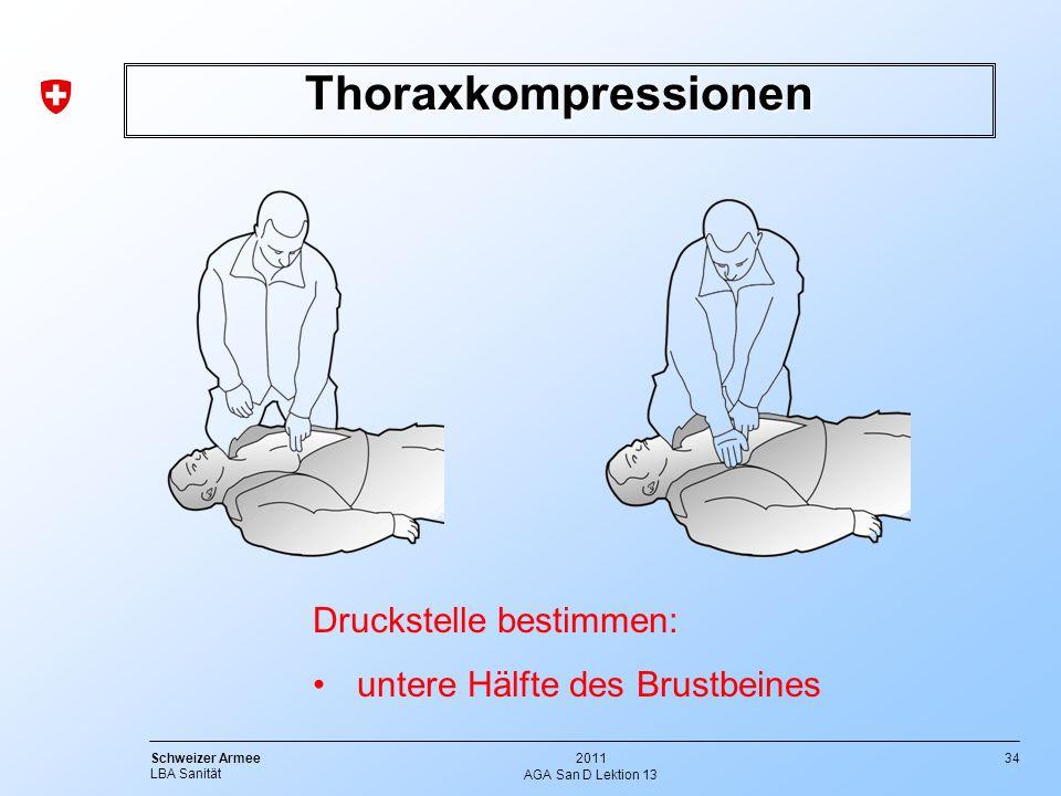 34 Schweizer Armee LBA Sanität 2011 AGA San D Lektion 13 Thoraxkompressionen Druckstelle bestimmen: untere Hälfte des Brustbeines