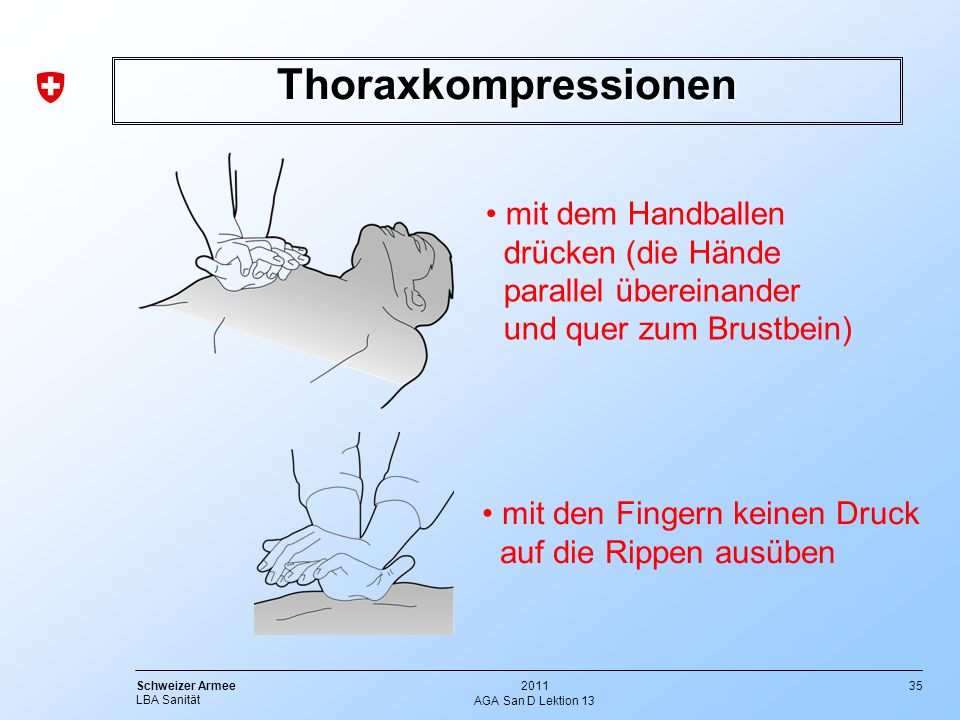 35 Schweizer Armee LBA Sanität 2011 AGA San D Lektion 13 Thoraxkompressionen mit dem Handballen drücken (die Hände parallel übereinander und quer zum