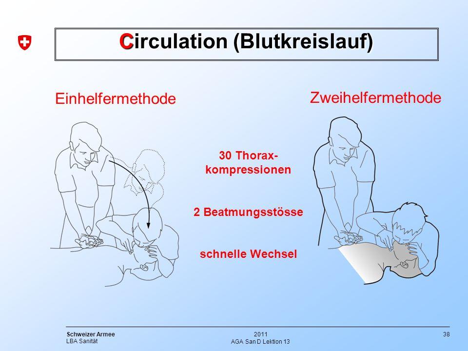 38 Schweizer Armee LBA Sanität 2011 AGA San D Lektion 13 Einhelfermethode Zweihelfermethode Circulation (Blutkreislauf) 30 Thorax- kompressionen 2 Bea