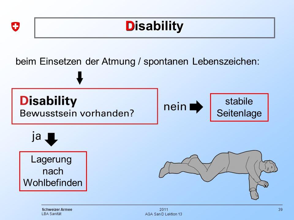 39 Schweizer Armee LBA Sanität 2011 AGA San D Lektion 13 Disability Lagerung nach Wohlbefinden stabile Seitenlage beim Einsetzen der Atmung / spontane