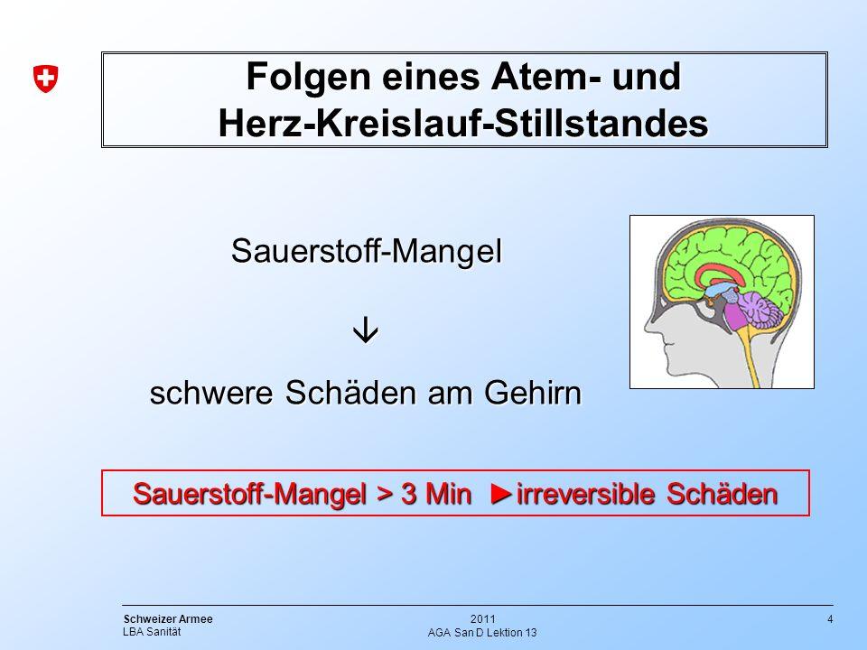 4 Schweizer Armee LBA Sanität 2011 AGA San D Lektion 13 Folgen eines Atem- und Herz-Kreislauf-Stillstandes Sauerstoff-Mangel Sauerstoff-Mangel schwere