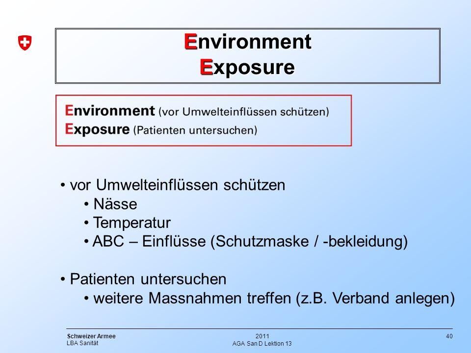 40 Schweizer Armee LBA Sanität 2011 AGA San D Lektion 13 Environment Exposure vor Umwelteinflüssen schützen Nässe Temperatur ABC – Einflüsse (Schutzma