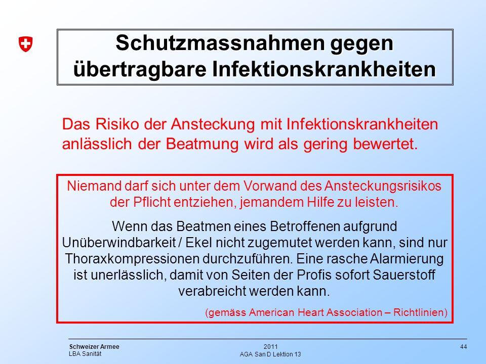 44 Schweizer Armee LBA Sanität 2011 AGA San D Lektion 13 Schutzmassnahmen gegen übertragbare Infektionskrankheiten Das Risiko der Ansteckung mit Infek