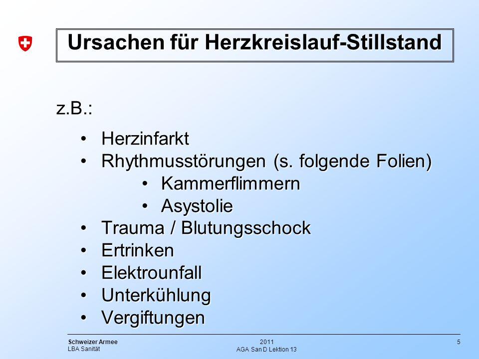5 Schweizer Armee LBA Sanität 2011 AGA San D Lektion 13 z.B.: HerzinfarktHerzinfarkt Rhythmusstörungen (s. folgende Folien)Rhythmusstörungen (s. folge