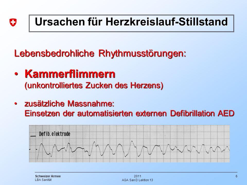 6 Schweizer Armee LBA Sanität 2011 AGA San D Lektion 13 Ursachen für Herzkreislauf-Stillstand Lebensbedrohliche Rhythmusstörungen: KammerflimmernKamme