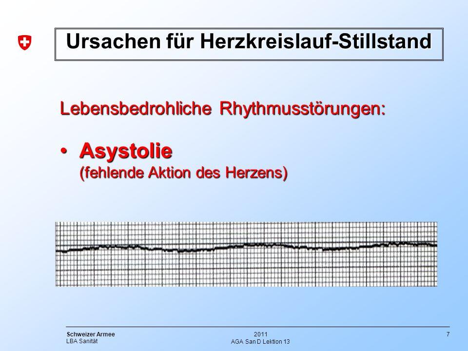 7 Schweizer Armee LBA Sanität 2011 AGA San D Lektion 13 Lebensbedrohliche Rhythmusstörungen: Asystolie (fehlende Aktion des Herzens)Asystolie (fehlend