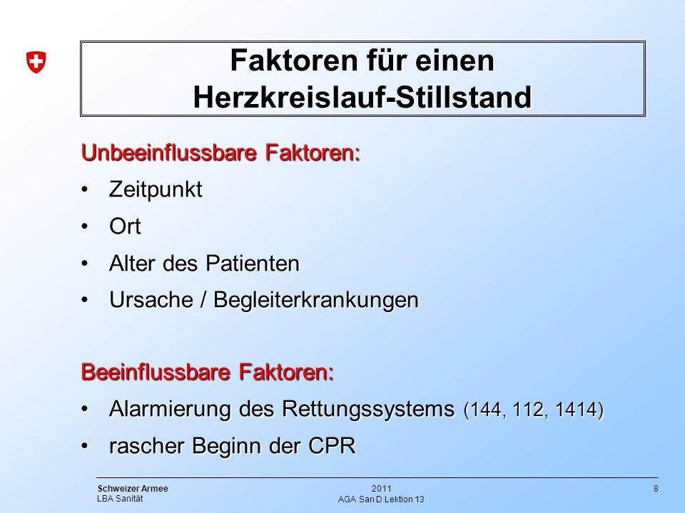 8 Schweizer Armee LBA Sanität 2011 AGA San D Lektion 13 Faktoren für einen Herzkreislauf-Stillstand Unbeeinflussbare Faktoren: ZeitpunktZeitpunkt OrtO