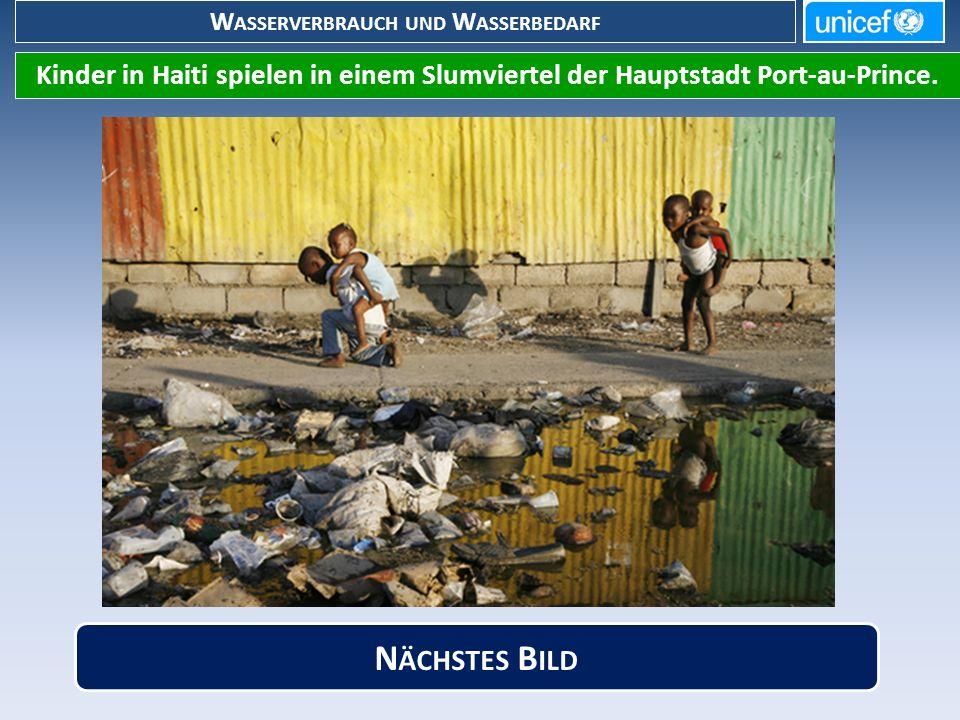 W ASSERVERBRAUCH UND W ASSERBEDARF Kinder in Haiti spielen in einem Slumviertel der Hauptstadt Port-au-Prince.
