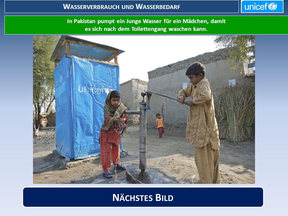 W ASSERVERBRAUCH UND W ASSERBEDARF In Pakistan pumpt ein Junge Wasser für ein Mädchen, damit es sich nach dem Toilettengang waschen kann.