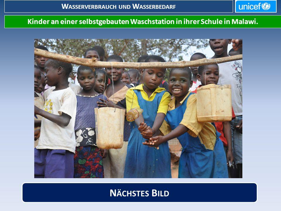 W ASSERVERBRAUCH UND W ASSERBEDARF Kinder an einer selbstgebauten Waschstation in ihrer Schule in Malawi.