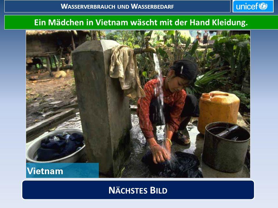 W ASSERVERBRAUCH UND W ASSERBEDARF Ein Mädchen in Vietnam wäscht mit der Hand Kleidung.