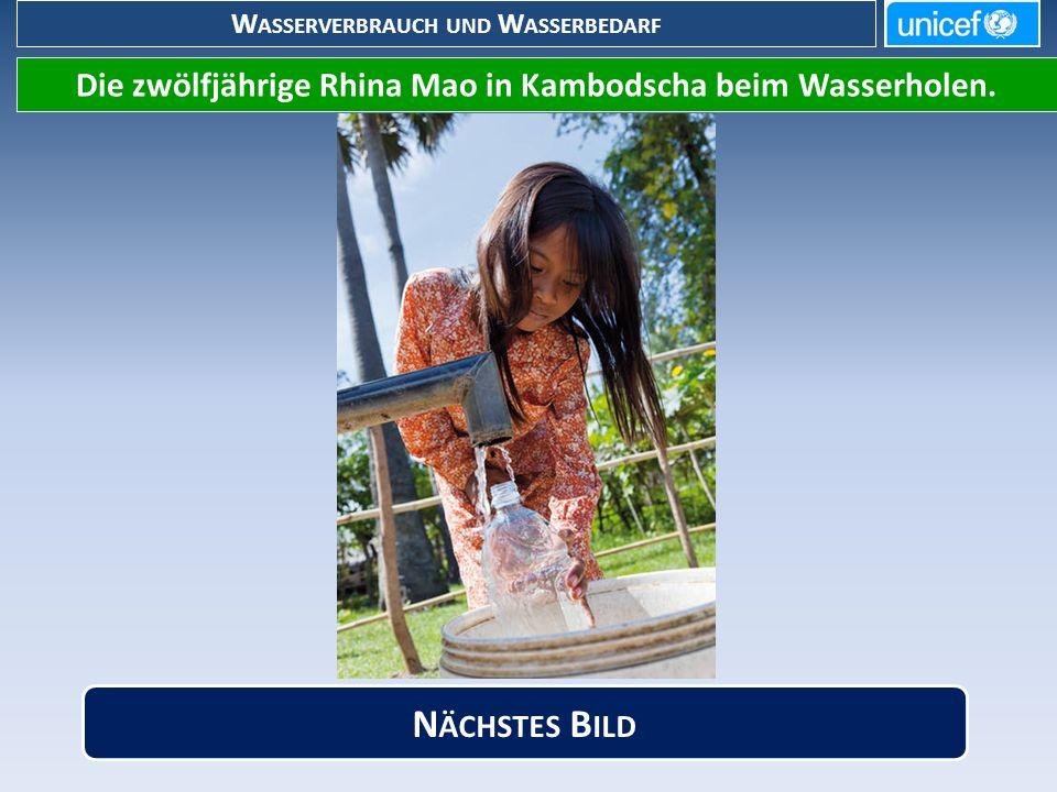 W ASSERVERBRAUCH UND W ASSERBEDARF Die zwölfjährige Rhina Mao in Kambodscha beim Wasserholen.
