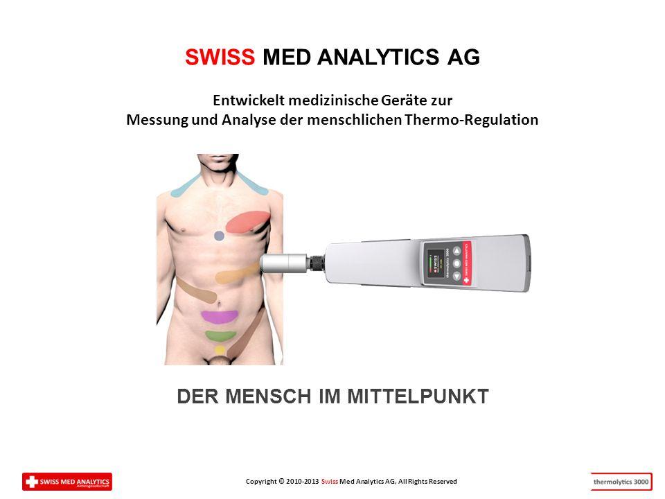 Copyright © 2010-2013 Swiss Med Analytics AG, All Rights Reserved SWISS MED ANALYTICS AG Entwickelt medizinische Geräte zur Messung und Analyse der menschlichen Thermo-Regulation DER MENSCH IM MITTELPUNKT