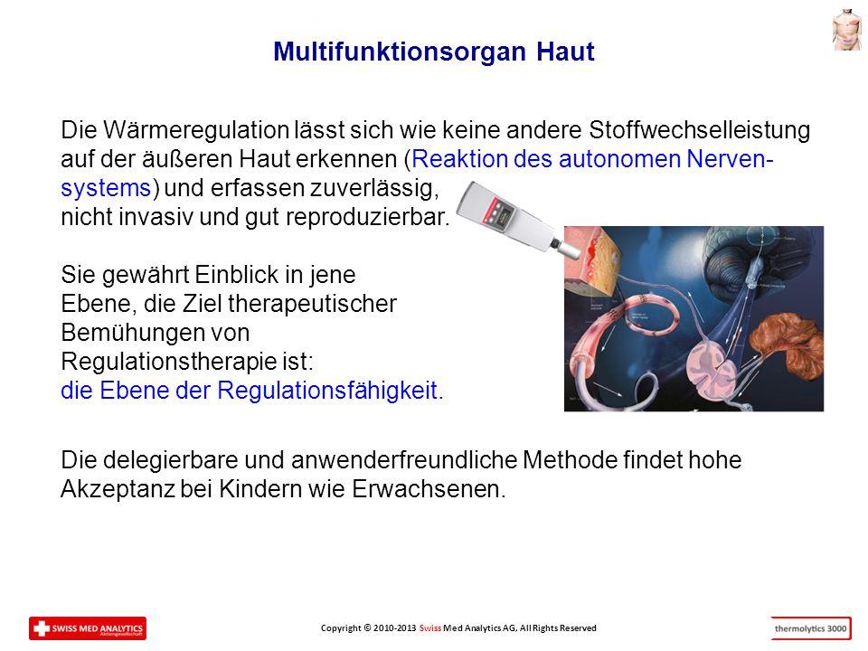 Copyright © 2010-2013 Swiss Med Analytics AG, All Rights Reserved Die Wärmeregulation lässt sich wie keine andere Stoffwechselleistung auf der äußeren Haut erkennen (Reaktion des autonomen Nerven- systems) und erfassen zuverlässig, nicht invasiv und gut reproduzierbar.