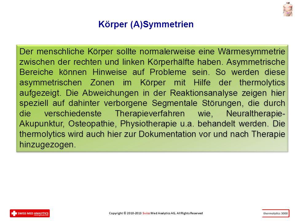 Copyright © 2010-2013 Swiss Med Analytics AG, All Rights Reserved Der menschliche Körper sollte normalerweise eine Wärmesymmetrie zwischen der rechten und linken Körperhälfte haben.