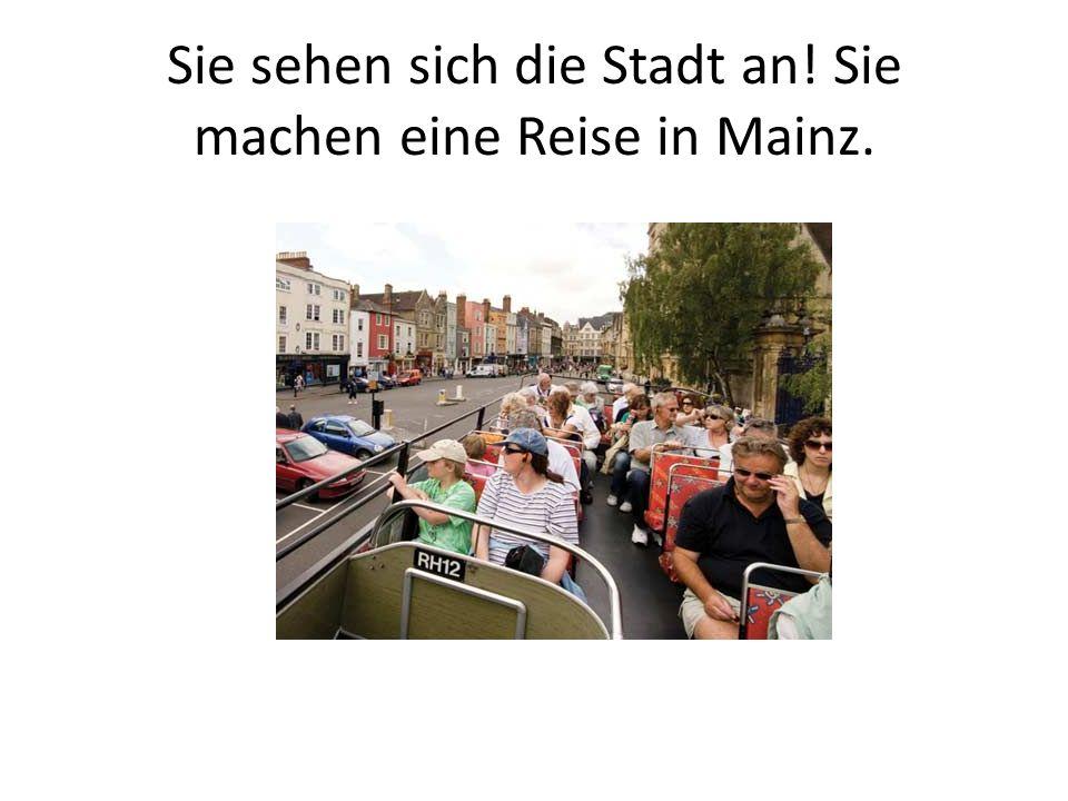 Sie sehen sich die Stadt an! Sie machen eine Reise in Mainz.