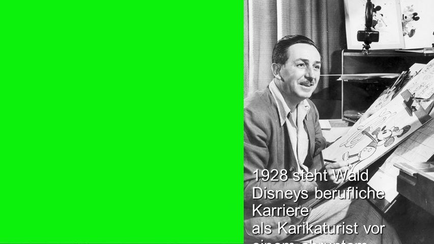 Seiteneinblender 1928 steht Wald Disneys berufliche Karriere als Karikaturist vor einem abruptem Ende.