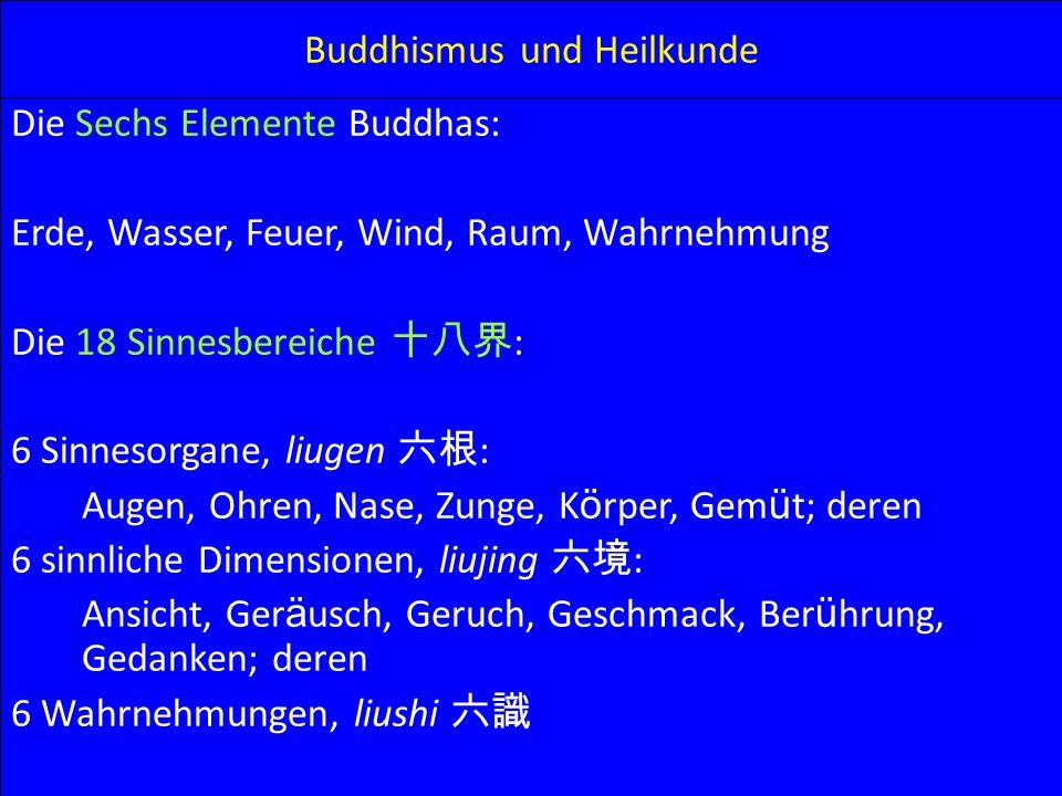 Buddhismus und Heilkunde Die Sechs Elemente Buddhas: Erde, Wasser, Feuer, Wind, Raum, Wahrnehmung Die 18 Sinnesbereiche : 6 Sinnesorgane, liugen : Aug
