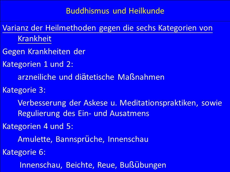 Buddhismus und Heilkunde Varianz der Heilmethoden gegen die sechs Kategorien von Krankheit Gegen Krankheiten der Kategorien 1 und 2: arzneiliche und d