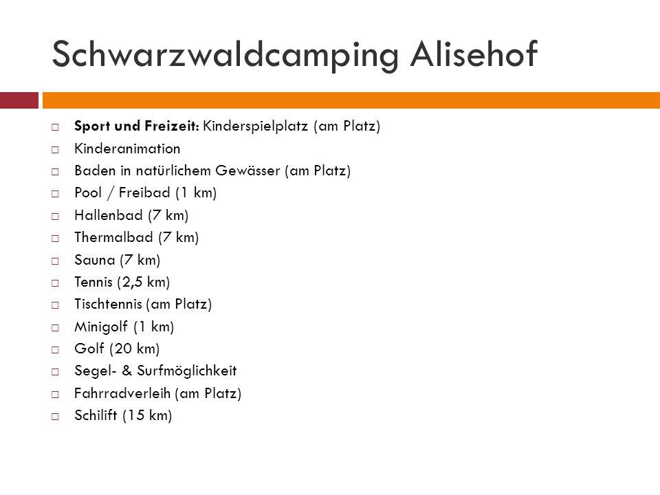 Schwarzwaldcamping Alisehof Sport und Freizeit: Kinderspielplatz (am Platz) Kinderanimation Baden in natürlichem Gewässer (am Platz) Pool / Freibad (1