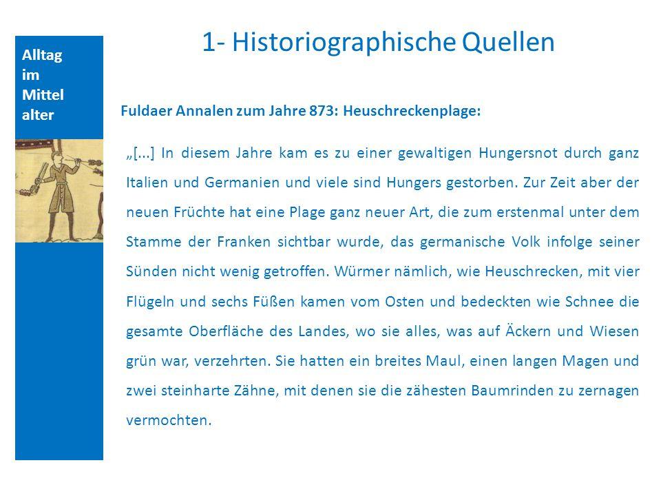 Alltag im Mittel alter 1- Historiographische Quellen Fuldaer Annalen zum Jahre 873: Heuschreckenplage: [...] In diesem Jahre kam es zu einer gewaltigen Hungersnot durch ganz Italien und Germanien und viele sind Hungers gestorben.
