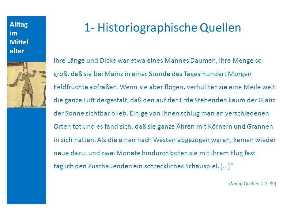 Alltag im Mittel alter 1- Historiographische Quellen Ihre Länge und Dicke war etwa eines Mannes Daumen, ihre Menge so groß, daß sie bei Mainz in einer Stunde des Tages hundert Morgen Feldfrüchte abfraßen.