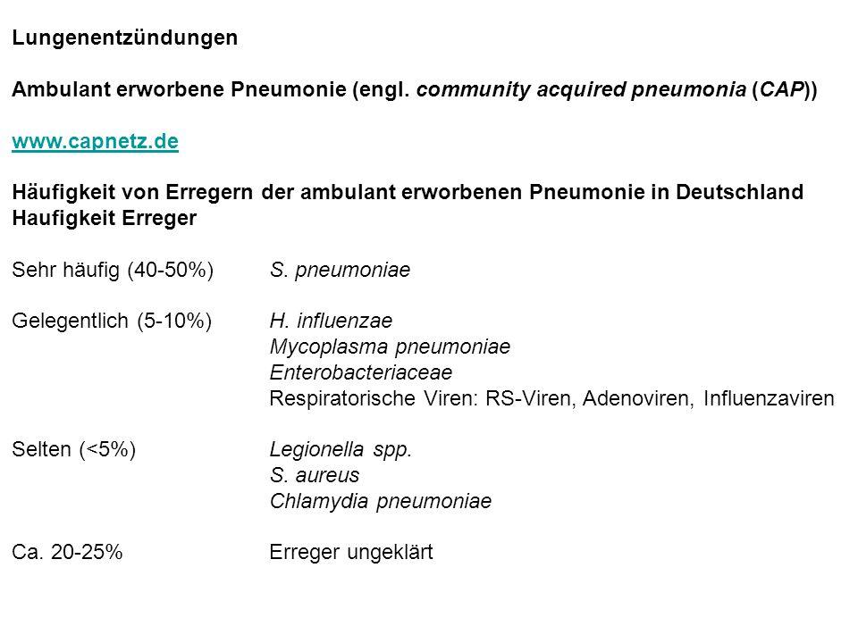 Lungenentzündungen Ambulant erworbene Pneumonie (engl. community acquired pneumonia (CAP)) www.capnetz.de Häufigkeit von Erregern der ambulant erworbe