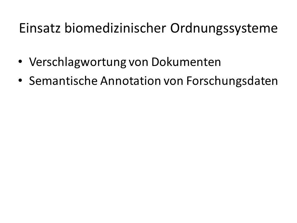 Verschlagwortung von Dokumenten Semantische Annotation von Forschungsdaten Einsatz biomedizinischer Ordnungssysteme