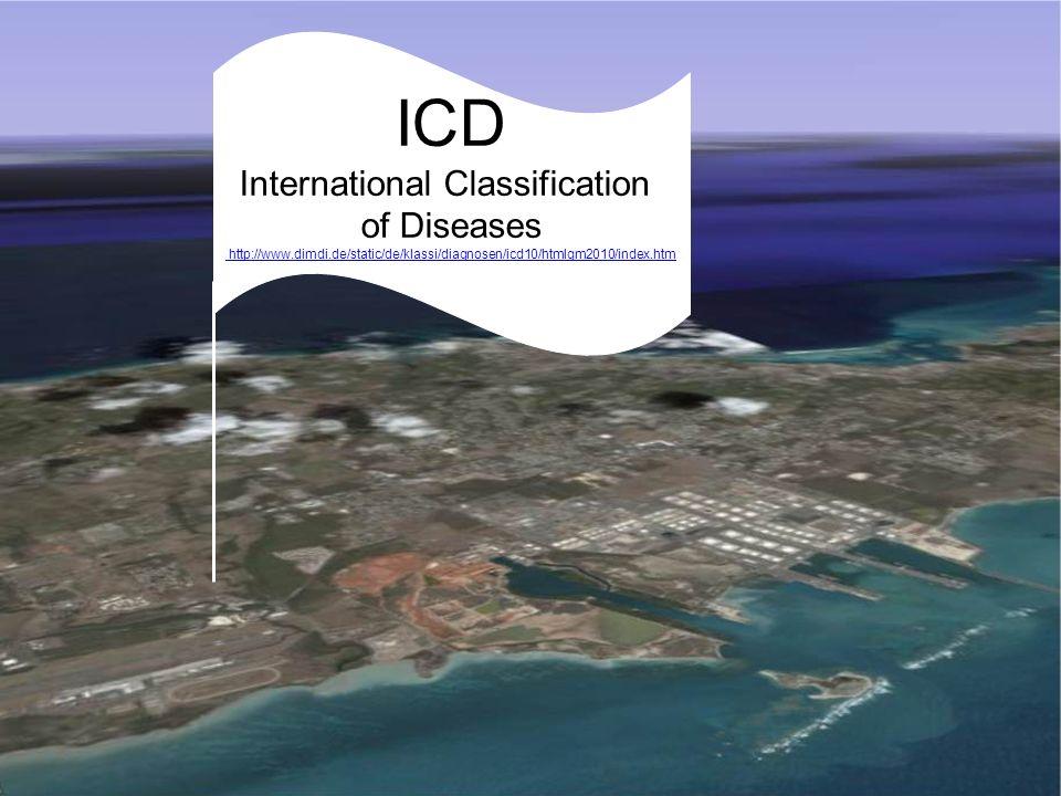 MeSH: Medical Subject Headings ICD International Classification of Diseases http://www.dimdi.de/static/de/klassi/diagnosen/icd10/htmlgm2010/index.htm