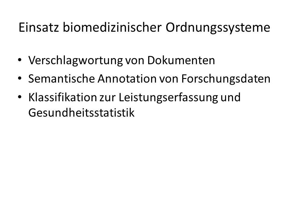 Einsatz biomedizinischer Ordnungssysteme Verschlagwortung von Dokumenten Semantische Annotation von Forschungsdaten Klassifikation zur Leistungserfass